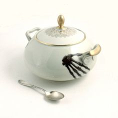 Altered Very Big Soup Tureen Skeleton Hands by MoreThanPorcelain, €85.00