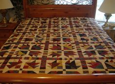 bear paw quilt block | Traditional Bear Paw Quilt - Country Reds, Blues and Golds - Queen ...
