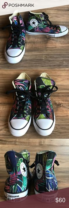 🔶New Converse All Star Tropical High-Top Size 8🔶 New Converse Chuck Taylor All Star Tropical High-Top Sneaker Size 8  Tropical leaves; palm leaves  Smoke and pet free home Converse Shoes Sneakers