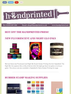 Our May 14 newsletter featuring Speedball Acrylic Fluorescent Inks, Night Glo Acrylic Ink and rubber stamp making and printing supplies.