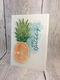 Stampin with Mel: Pineapple ft Butterfly Basics - Happy Birthday
