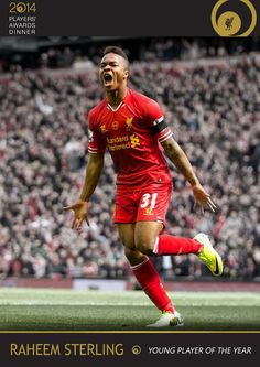 Congratulations to Raheem Ssterling who wins the Young Player of the Year award #LFCAwards