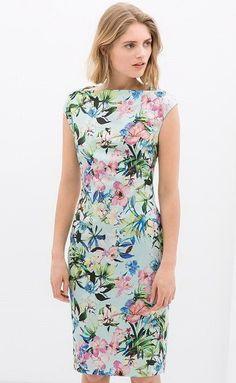 #idreammart Little Bateau Neck Floral Print Mini Pencil Dress - iDreamMart.com