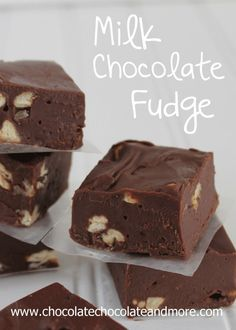 Milk Chocolate Fudge-smooth, creamy and easy to make!. ☀CQ #sweets #treats #desserts   http://www.pinterest.com/CoronaQueen/sweet-nuthins-corona/