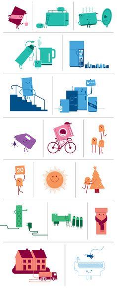 """""""qui fofinhos"""" - ícones de energia e eletrodomésticos com carinhas e bracinhos kkk adoro vector art!!"""