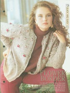 Knitting+patterns+for+Ladies+cardigan+with+Moss+&+rib+borders+&+added+flower+buds