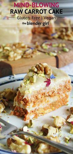 Incredible Raw Carrot Cake {Vegan + Gluten-Free} – The Blender Girl Increíble pastel de zanahoria cruda {vegana + sin gluten} – The Blender Girl Raw Vegan Cake, Raw Vegan Desserts, Raw Cake, Raw Vegan Recipes, Vegan Treats, Vegan Raw, Raw Dessert Recipes, Vegan Cupcakes, Diet Desserts