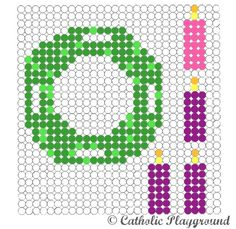 Use this free printable template to make your own Advent wreath out of perler (or fusible) beads.
