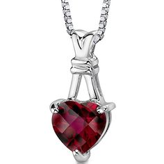 Revoni Ruby Heart Shape Pendant Necklace Sterling Silver 3.00 Carats