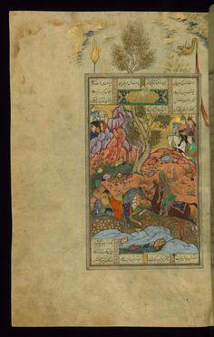Bidarafsh Kills Zarir, the Brother of Gushtasp -  Shahama (Walters manuscript) Firdawsi (Persian, died 411-416 AH/AD 1020-1025) (Author) Muhammad Mirak ibn Mir Muhammad al-Husayni al-Ustadi (Scribe) Herat (?), 1028 AH/AD 1618-1619 ink and pigments on laid paper ACCESSION NUMBER W.602.355A MEASUREMENTS H: 14 3/8 x W: 9 1/4 in. (36.5 x 23.5 cm) The Walters Museum