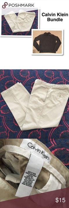 Calvin Klein Bundle Calvin Klein pants 32 waist 30 inseam - bonus Calvin Klein sweater size medium. Both in great used condition. Also sold separately in my closet. Calvin Klein Pants Chinos & Khakis