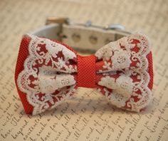 Coral wedding dog collar, Coral Dog Bow Tie, Pet Wedding accessory, Vintage wedding, beach wedding, country wedding, Dog Lovers