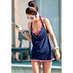 Ruffled Hem Three-Piece Divided Type Design Women's Swimsuit With Halter, BLUE, M in Swimwear | DressLily.com