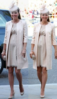 Kate Middleton: Jenny Packham Nude Manto ve Elbise Princesa Kate Middleton, Kate Middleton Outfits, Maternity Coat, Maternity Fashion, Maternity Styles, Jenny Packham, Kate And Meghan, Catherine The Great, Princesa Diana