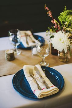 Camp seely wedding like this. Table setting. Where could I find these blue metal camping plates?