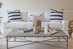 Casual Chic Coastal... with White Slipcovered Sofas. Many Styles to Choose from.