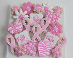 Pink Ribbon/Flowers/Hearts Cookies  via Flickr