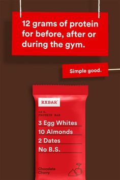 Need a protein snack or energy bar to fuel your fitness body? Try an RXBAR with 12 grams of protein made from real, simple core ingredients. The chocolate and cherry are just the cherry on top. To see all our other delicious protein bar flavors, go to Protein Snacks, Protein Bars, Healthy Snacks, Healthy Eating, Healthy Recipes, Proper Nutrition, Nutrition Tips, Subway Nutrition, Runners Nutrition