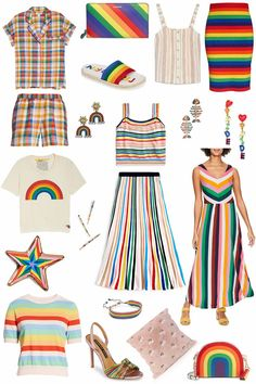 The Best Rainbow Pieces for Pride Month (and Every Day)! Rainbow Crop Top, Rainbow Star, Two Spirit, Chevron Dress, Fashion Now, Pajamas Women, Pride, Stripes, Summer Dresses