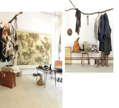 Love this idea of using branches as hangers/decor! Doing this!! From Atelier Solar shop in Antwerp.