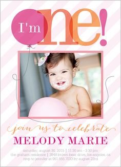 Baby Girl First Birthday Invitations Invites Cindy Wilson Girls 1st