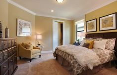 Traditional Master Bedroom with Carpet, flush light, High ceiling, Crown molding