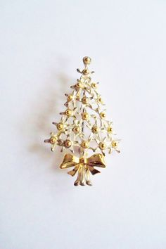 Vintage Brooch Pin Christmas Tree Gold and Silver Tone Winter Jewelry Jewellry Holiday Special Occasion Gift for Her