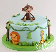 Jungle Theme Cupcakes, Jungle Cake, Themed Cupcakes, Safari Birthday Cakes, Boys 1st Birthday Cake, Cake Designs For Kids, Food Art For Kids, Cute Cakes, Baby Shower Cakes