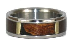 Titanium Ring for Men with Brazilian Rose, Black Wood, Koa Wood and Green Gold Inlays