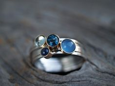 Blue Stones Cluster Ring
