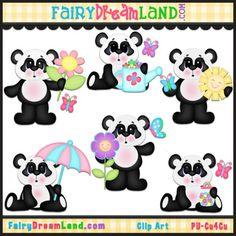 Spring Pandas CU Clip Art by FairyDreamLand.com