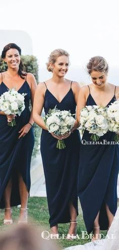 Dark Navy Jersey Spaghetti Strap V neck Sheath High Low Bridesmaid Dresses The bridesmaid dresses are fully lined, chest pad in the bust, lace up back or zipper back are all available, total 126 colors are available.This dress could be custom made, there Tea Length Bridesmaid Dresses, Navy Blue Bridesmaid Dresses, Bridesmaid Dresses Online, Wedding Bridesmaids, Bridesmaid Colours, Navy Blue Wedding Dresses, Bridesmaid Dresses Different Colors, Burgundy Bridesmaid, Dark Navy