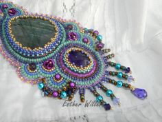 embroidered necklace labradorite and amethyst by EstherWiller, €115.00