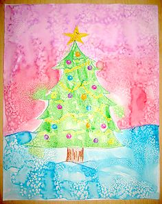 An Activity for Preschoolers: Use salt to add an exciting, snowy effect to paintings!