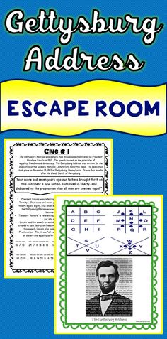 The Gettysburg Address Escape Room will take students on a secret mission around the classroom! This escape room has students decode interesting facts about the Gettysburg Address, Abraham Lincoln and the Civil War. This is the perfect resource to introduce a famous historical speech in a fun way! The activity includes modern, easy to understand translations of Lincoln's speech.