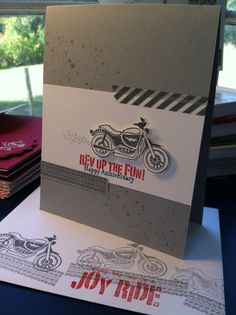 """birthday card for my Harley man! Stamp set is called """"Rev Up the Fun"""""""
