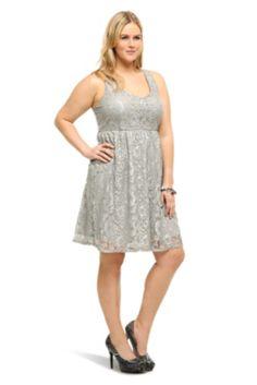 Grey Lurex Lace Tank Dress
