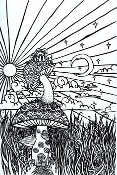 Psychedelic Mushroom Coloring Pages Online printable trippy b