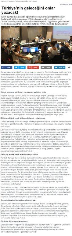 PlayLab Türkiye egitim programlarıyla çocuklar en güncel teknolojiyi kullanarak egitim alacaklar. Egitim kapsamında çocuklar kendi 'drone'larını uçuracak, robotlarını tasarlayacak, uygulama geliştirecek ve kodlama yaparak ülkemizin dijital devrimine katkıda bulunacaklar!