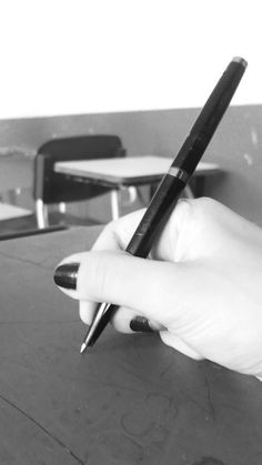 black and white photo, black hand pen ...