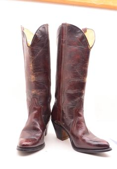 1970s oxblood boots 70s high heel cowboy boots size by melsvanity, $58.00