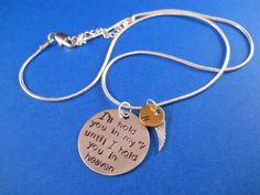 I will hold you in my heart until I hold you in heaven / infant loss / remembrance necklace - $16
