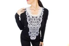 Steampunk lace statement body necklace, White big Wedding Necklace, FREE SHIP, Wearable Art 2015 Jewelry trends, Over Sized Body  Necklace