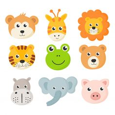 cute animal faces icon set isolated on white background. Safari Party, Safari Theme, Animal Heads, Animal Faces, Cute Cartoon Animals, Cute Baby Animals, Animal Crafts For Kids, Art For Kids, Jungle Theme Birthday