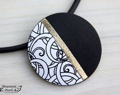Red Necklace Red Black White Necklace Geometric Necklace Red Jewelry Modern necklace Inspirational gift woman Christmas gift for her Orange Necklace, Black Necklace, Summer Necklace, Polymer Clay Pendant, Polymer Clay Jewelry, Black And White Necklaces, Terracotta Jewellery, Dog Necklace, Red Jewelry