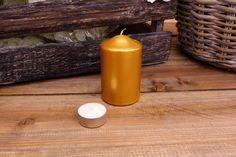 Κεριά Κυλινδρικά Χρυσά Φ6x10εκ Candles, Pillar Candles, Lights, Candle