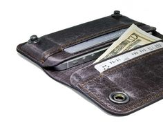 RETROMODERN aged leather iPhone wallet - - ESPRESSO