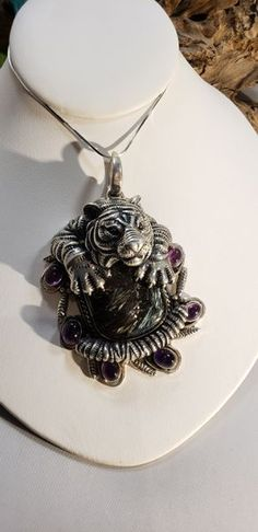 b0fe4d678 SOMS Sterling Tiger Necklace with Nuumite & Amethyst | V E S S E L  Amethyst, Amethysts