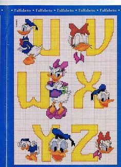 Alfabeto con Paperino e Paperina giallo (4)
