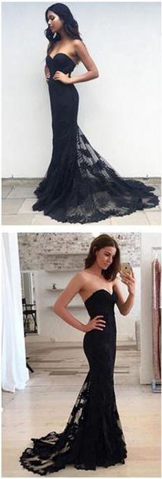 Black Mermaid Strapless Sweetheart Party Evening Long Prom Dress #Blackpromdress #Prom #Partydress